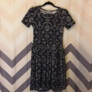 Lularoe Black baroque print Amelia Dress